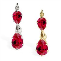 14K Gold reversed belly ring with double Ruby teardrop dangle