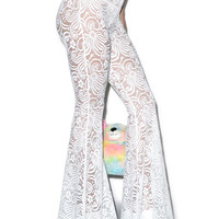 J Valentine White Cyclone Lace Bell Bottoms