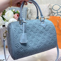 Hipgirls LV New fashion monogram leather pillow shape shoulder bag crossbody bag handbag Blue