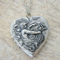 Silver Heart Locket Necklace Ocean Mermaid Goddess Sea Horse Wedding Wife Mom Birthday Friend Daughters Beautiful Photo Pictures - Justine