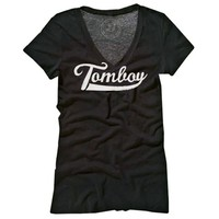"Women's ""Tomboy"" V-Neck Tee by Badcock Jones (Black)"