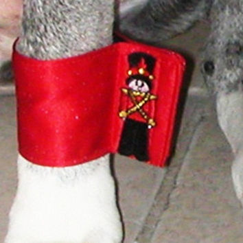 Dog Cuffs and Bow tie Combo:Christmas Red  candy cane or toy soldier