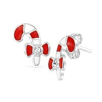 Christmas Winter Red Striped Candy Cane Stud Earrings Sterling Silver