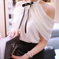 Sexy Off Shoulder Blouse 2016 Women Slash Neck See Through Casual Tops Tee Blusas