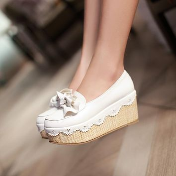 Bow Platform Wedges Heel Shoes for Woman 3372