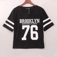 2016 New Fashion Crop Top T-shirt Women BROOKLYN 76 Printed Printing T Shirt Women Cropped Tops  Tee Shirt Femme Woman Clothing
