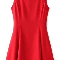 Red Sleeveless A-Line Pleated Dress