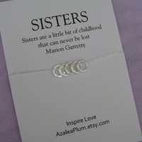 5 Sisters Necklace. 4 SISTERS Gift. 50th Birthday Gift for Sister . Gift for her. Bridal Party.  Maid of honor Sister. Sisters Necklace