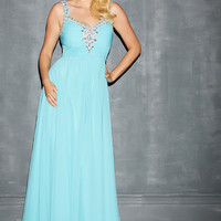 Night Moves 7132W - Turquoise Beaded Chiffon Plus Size Prom Dresses Online