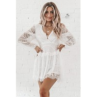 Talk Of The Town White Lace Dress
