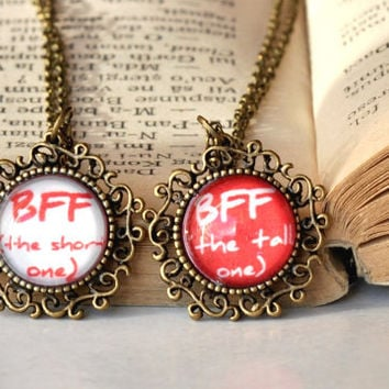 Matching BFF Glass Dome Necklaces Two Matching Best Friends Pendants