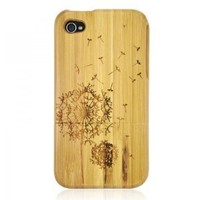 ZLYC Generic Bamboo Case for iPhone 4/4S - Carved Dandelion Color Wood