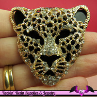 CHEETAH Animal Head Gold and Black with Crystals Decoden Cellphone Cabochon Decoration