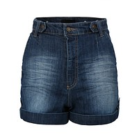 High Waist Distressed Medium Wash Denim Jean Shorts (CLEARANCE) (CLEARANCE)