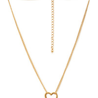 FOREVER 21 Open Heart Pendant Necklace Gold One