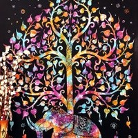 Marubhumi Tree of Life Psychedelic Wall Hanging Elephant Tapestry, Multi/Black, 55x86-Inches