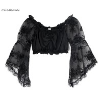 Charmian Sexy Women Off Shoulder Top Fashion Black Gothic Lolita Crop Top Victorian Elastic Top Short Blouse Club Party Clothing