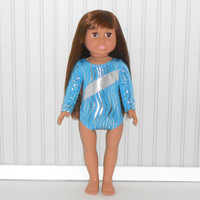 American Girl Doll Clothes Turquoise and Silver Leotard with Zebra Stripes Gymnastics fits 18 inch Dolls