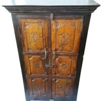 Antique Indian Cabinet Hand Carved Wooden Storage Armoire Vintage Furniture