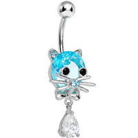 Aqua Gem Sophisticated Kitty Cat Dangle Belly Ring   Body Candy Body Jewelry