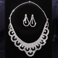 Flower Curtain Crystal Necklace With Dangle Earring Jewelry Set