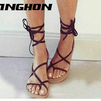 2016 NEW celebrity brand new designer Faux Leather Strappy Roman Goth Gladiator Thong Lace Up Sandals Flat Shoes Plus size35-40