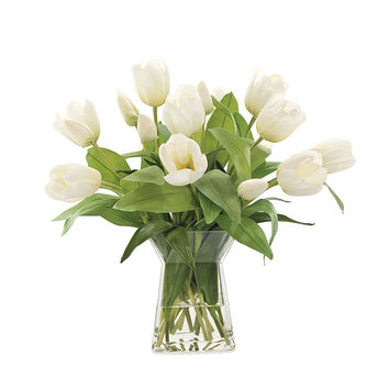 Some of you have to get in on this: 15in Faux Tulips in Deco Vase