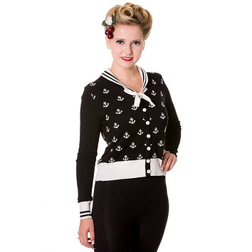 Sailor Pin-up Nautical Knit Anchor logo & White Bow two tone Black Cardigan