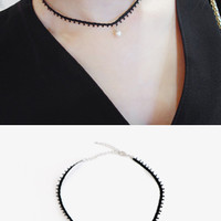 Pearl Pendant Cord-Covered Necklace - Miamasvin loves u! Womens Clothing. Korean Fashion.