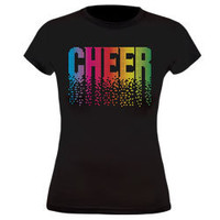 Falling Matrix Style Printed Cheer Black Fitted T-Shirt for Cheerleading