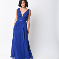 Royal Chiffon Belted Draped Grecian Gown