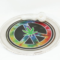 Nickel Plated Rolling Tray, Custom Graphic - Tobacco Marijuana Cannabis Pot Weed Bud Blunt Joint Cigarette Peace Sign Pot Leaf Tie Dye