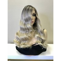Rooted Ash Balayage Remy Human Hair Full Lace Wig - Robin