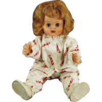 """Old, 16"""" Vinyl Doll -  Little Girl in Holiday Pajamas"""