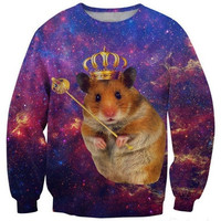 Latest fashion fads Lovers clothes print Funny hamster casual Sweatshirts long sleeved loose Sweatshirt casual hoodie G202