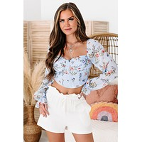 Blossoming Beauty Long Sleeve Floral Print Crop Top (Powder Blue)
