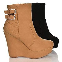 Am33 By Top Moda, Quilted Platform Wedge Ankle Bootie - Women Shoes