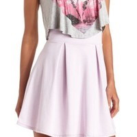 Pleated High-Waisted Skater Skirt by Charlotte Russe - Lavender