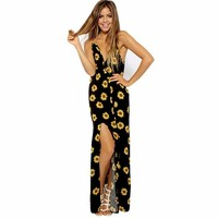 Fashion Spaghetti Strap Sunflower Print Long Dress Girls Beach Dress