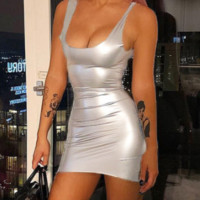 New explosion models hot sexy bag hip silver strap dress female