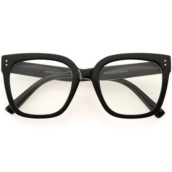 Oversized High Fashion Thick Rimmed Square Blue Light Glasses D292