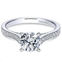 Gabriel Classic Prong Set Cathedral Diamond Engagement Ring