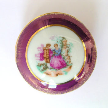 Purple Porcelain Box - Vintage Japanese Box - Plum