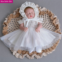 Kiss little fish Free shipping Summer baby girl lace dress with hat Baby girl birthday party dress  newborn girl dress