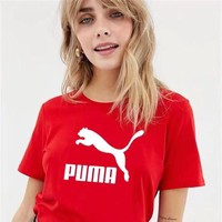PUMA new tide brand men and women classic chest big logo round neck short-sleeved shirt Red