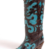 Women's Corral Boots Black & Cognac Vintage Goat Turquoise Inlay Cowgirl Boots