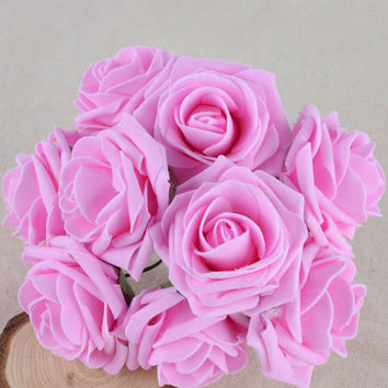 50 pcs pack Colourfast Foam Roses Artificial Flower Wedding Bride Bouquet Party Decor DIY Flower Y1