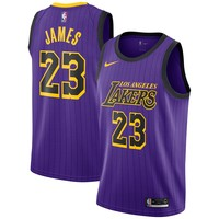 Men's Los Angeles Lakers LeBron James Nike Purple 2018/19 Swingman Jersey – City Edition - Best Deal Online