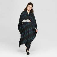 Women's Plus Size Long Ruana Poncho Sweater - A New Day™ Black