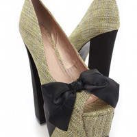 Bow Knit High Heel Shoes